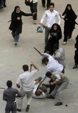 iranian protestor beaten
