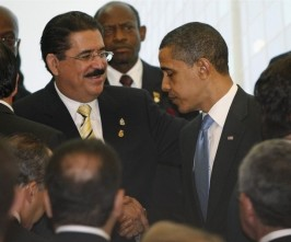 Obama and Manuel Zelaya in April