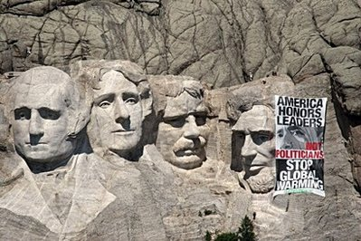 global warming on mount rushmore